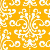 damask lg pumpkin orange and white