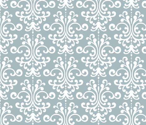 damask lg slate blue and white fabric by misstiina on Spoonflower - custom fabric