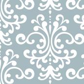 damask lg slate blue and white