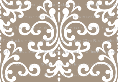 damask lg tan and white
