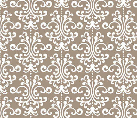 damask lg tan and white fabric by misstiina on Spoonflower - custom fabric