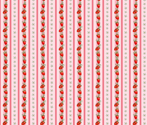 Strawberry Stripes Pink fabric by ninniku on Spoonflower - custom fabric