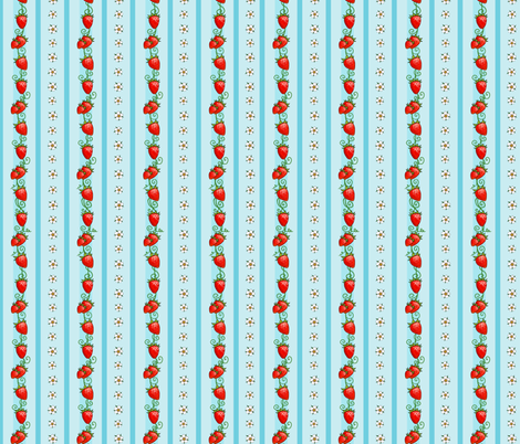 Strawberry Stripes Light Blue fabric by ninniku on Spoonflower - custom fabric