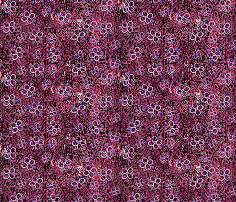 Pink Flowers on Burgundy fabric by martaharvey on Spoonflower - custom fabric