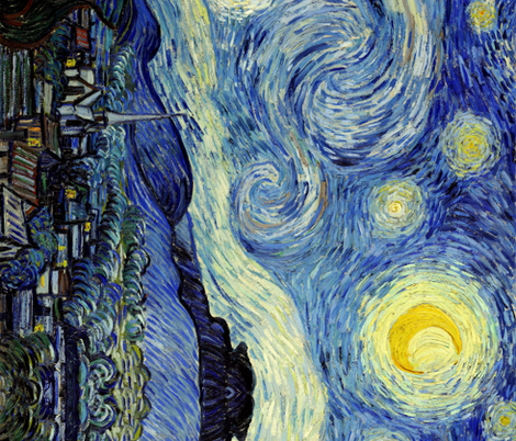Van Gogh Starry Night Seamless Repeat fabric by ninniku on Spoonflower - custom fabric