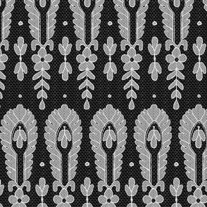 Antique Lace, White on Black