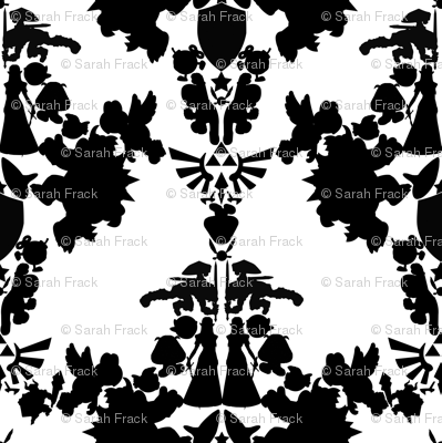 Legend of Zelda & Super Mario Bros Damask - Black & White