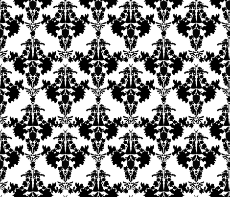 Legend of Zelda & Super Mario Bros Damask - Black & White fabric by montyfull on Spoonflower - custom fabric