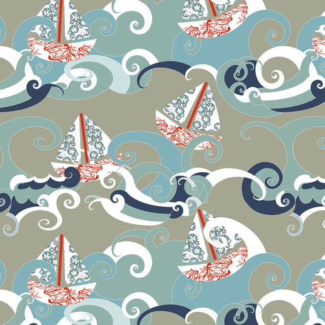 Stormy Sea Boats fabric by mag-o on Spoonflower - custom fabric