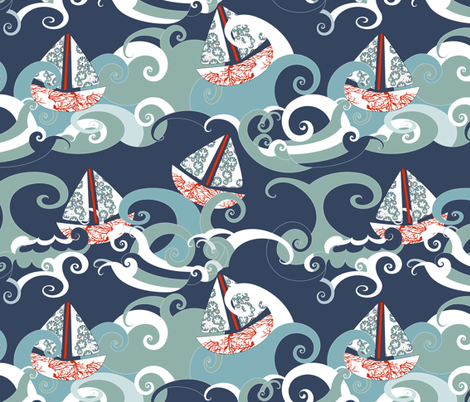 Blue Water Boats fabric by mag-o on Spoonflower - custom fabric
