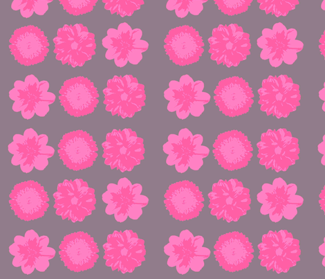 Pink flower on grey back drop-ed fabric by heaven-lee on Spoonflower - custom fabric