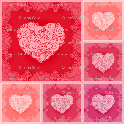 Romantic napkins with lace border and hearts
