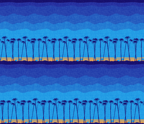 tiki_beach_blue fabric by thecalvarium on Spoonflower - custom fabric