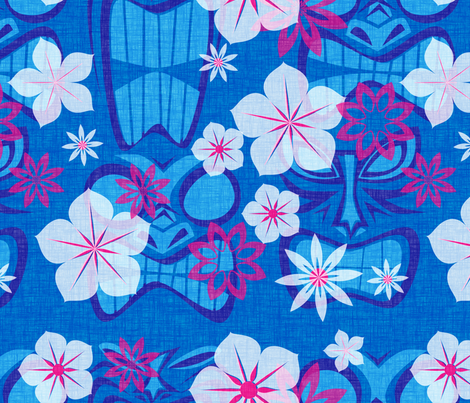 Vintage Tiki - lagoon fabric by thecalvarium on Spoonflower - custom fabric