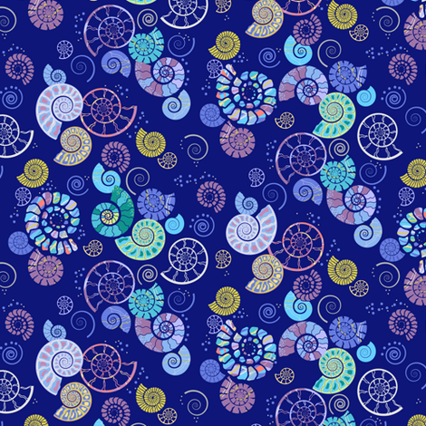 ammonites ditsy blue fabric by coggon_(roz_robinson) on Spoonflower - custom fabric