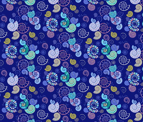 ammonites blue fabric by coggon_(roz_robinson) on Spoonflower - custom fabric