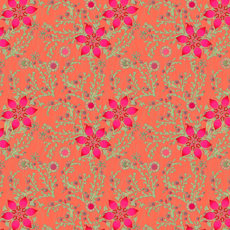 Moss Rose in Coral fabric by joanmclemore on Spoonflower - custom fabric