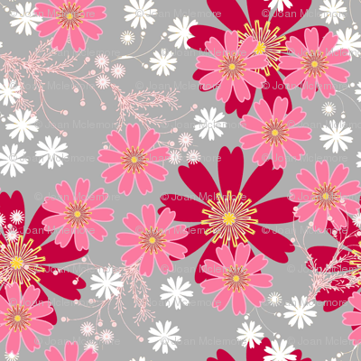 Red mod floral on gray