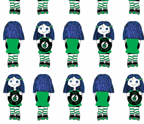 7 in Green Rocking Derby Doll 7 in fabric by derbymom716 on Spoonflower - custom fabric