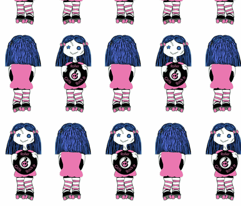 7 in Pink Rocking Derby Doll 7 in fabric by derbymom716 on Spoonflower - custom fabric