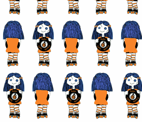 7 in Orange Rocking Derby Doll fabric by derbymom716 on Spoonflower - custom fabric
