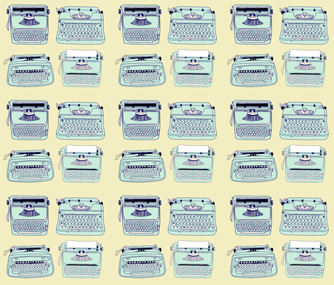 Typewriters Blue Yellow fabric by curious_nook on Spoonflower - custom fabric