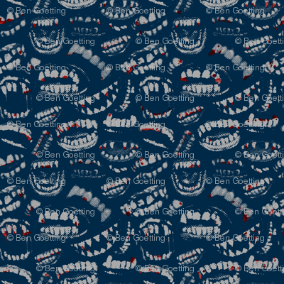 Monster Mouths! With Blood! - Navy / Grey