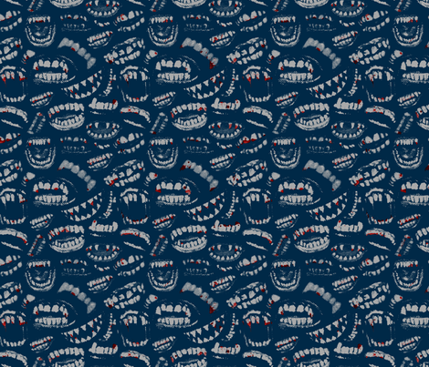 Monster Mouths! With Blood! - Navy / Grey fabric by ben_goetting on Spoonflower - custom fabric