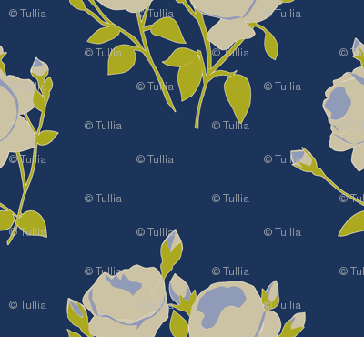 French Rose Paper Cut Out in Blue