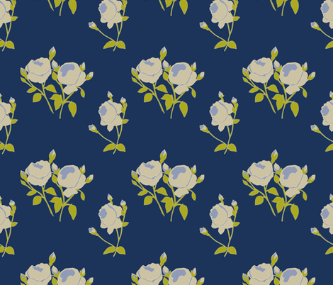 French Rose Paper Cut Out in Blue fabric by horn&ivory on Spoonflower - custom fabric