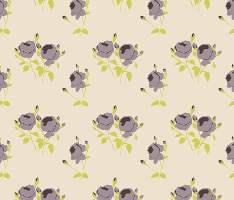 French Rose Paper Cut Out in Purple fabric by horn&ivory on Spoonflower - custom fabric