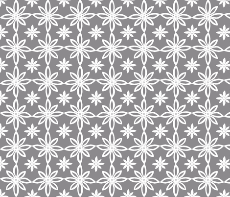 Pattern With 2 Flowers in Grey and White fabric by martaharvey on Spoonflower - custom fabric