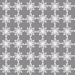 Simple Flower Pattern in Grey and White