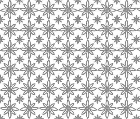 Pattern With 2 Flowers in White and Grey fabric by martaharvey on Spoonflower - custom fabric