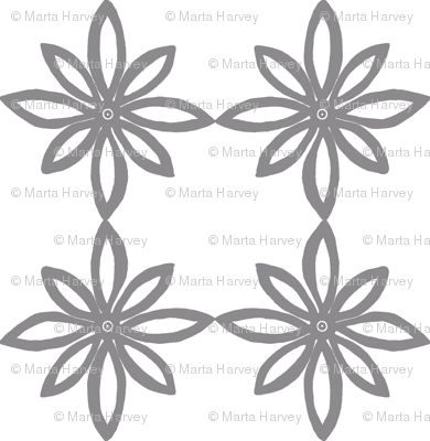 Simple Flower Pattern in White and Grey