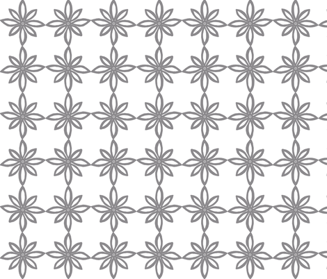 Simple Flower Pattern in White and Grey fabric by martaharvey on Spoonflower - custom fabric