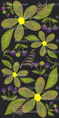Flowers,Ferns&BerriesonBlack