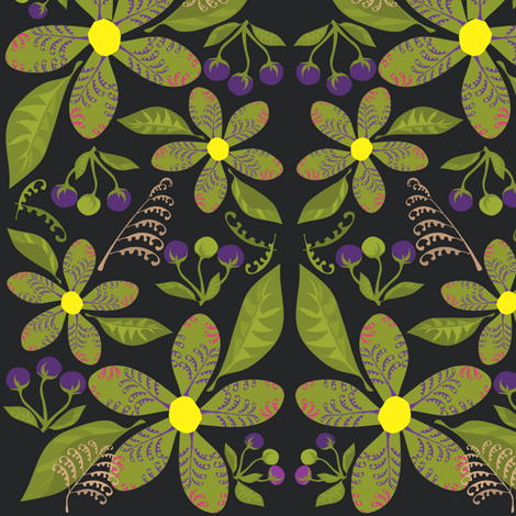 Flowers,Ferns&BerriesonBlack fabric by linda_santell on Spoonflower - custom fabric