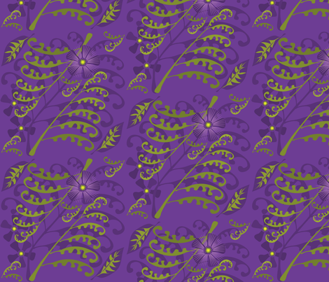 Passion Flowers & Ferns on Purple fabric by linda_santell on Spoonflower - custom fabric