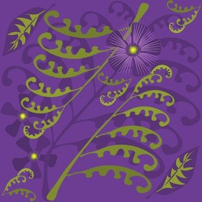 Passion Flowers & Ferns on Purple