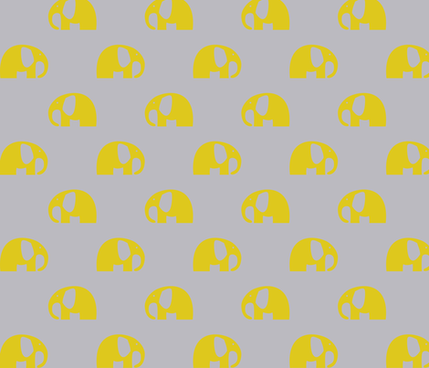 elephants_6cm - yellow 1 fabric by two_little_flowers on Spoonflower - custom fabric