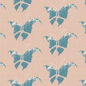 Butterfly - slate blue/pink/white/linen only