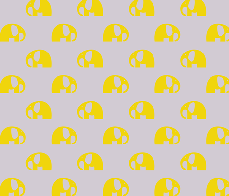 elephants_6cm_yellow_3 fabric by two_little_flowers on Spoonflower - custom fabric