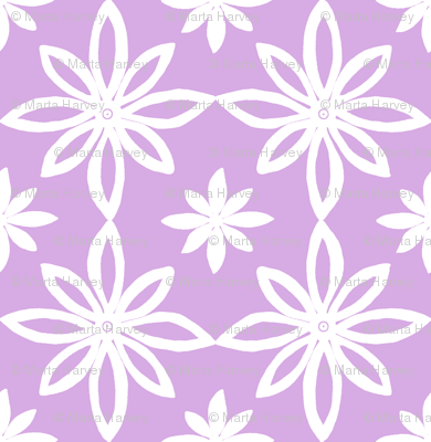 Pattern With 2 Flowers in Lavender and White