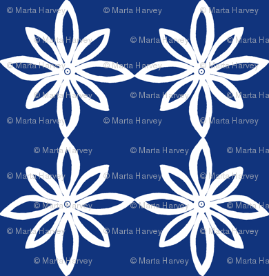 Simple Flower Pattern in Blue and White