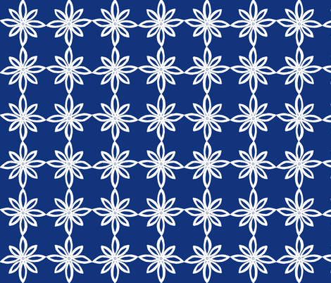 Simple Flower Pattern in Blue and White fabric by martaharvey on Spoonflower - custom fabric
