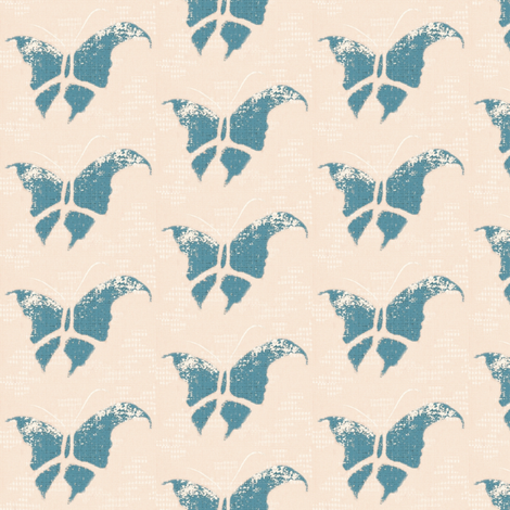 Butterfly - slate blue/pink/white/crepe cloth fabric by materialsgirl on Spoonflower - custom fabric