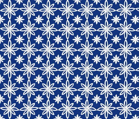 Pattern With 2 Flowers in Blue and White fabric by martaharvey on Spoonflower - custom fabric