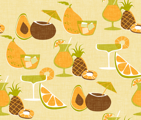 Tiki Cocktails - sand fabric by thecalvarium on Spoonflower - custom fabric