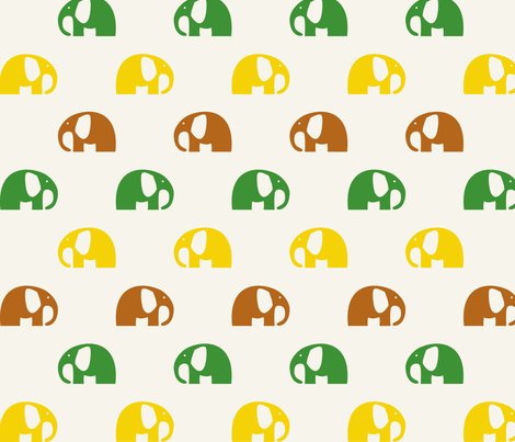 elephants_6cm_3row_yellow-green-brown fabric by two_little_flowers on Spoonflower - custom fabric